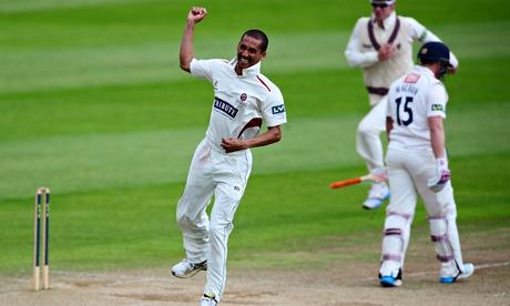 Alfonso Thomas celebrates taking the wicket of Matt Machan