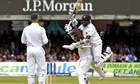 Kumar Sangakkara celebrates with Mahela Jayawardene