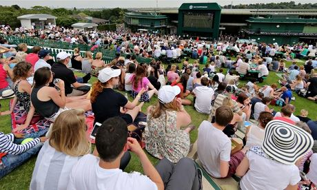 Fans watch Britain's Andy Murray at Wimbledon