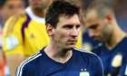Argentina's captain Lionel Messi cuts a dejected figure after his sides's World Cup final defeat.