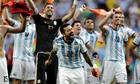 Ezequiel Lavezzi leads the celebrations after Argenina's victory against Belgium.