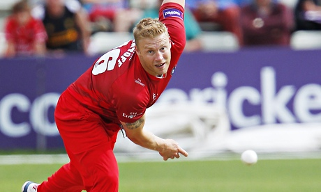 Andrew Flintoff sends down a delivery on his competitive return for Lancashire.