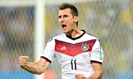 Miroslav Klose scored a record 16th World Cup goal during Germany's 7-1 win against Brazil