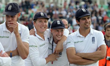 Stuart Broad, left, Gary Ballance, Joe Root and  Alastair Cook celebrate
