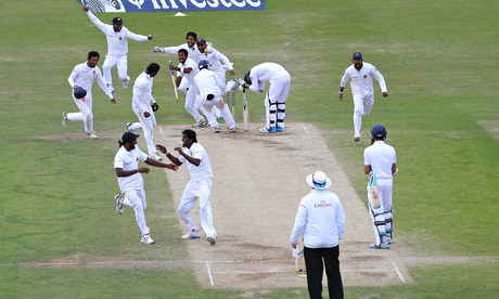 Sri Lanka's players celebrate after dismissing a devastated Jimmy Anderson at Headingley