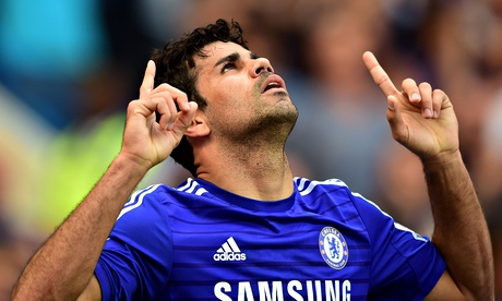 Diego Costa gives thanks to a higher power after scoring for Chelsea against Leicester City.