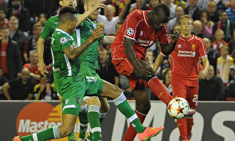 Mario Balotelli scores Liverpool's opening goal in the 2-1 win over Ludogorets Razgradon at Anfield.