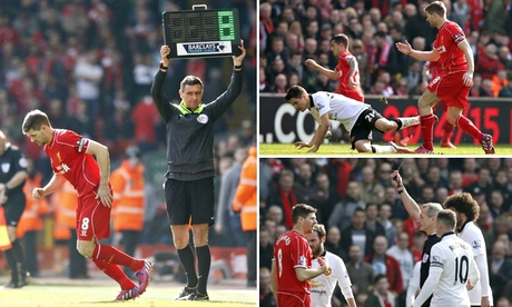 Liverpool's Steven Gerrard sent off after 40 seconds against Manchester United