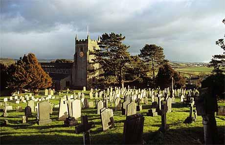 Church and graveyard at Warton in North Lancashire