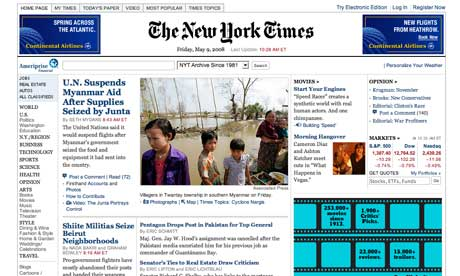 Front page of The New York Times online. When the 12th annual Webby Awards