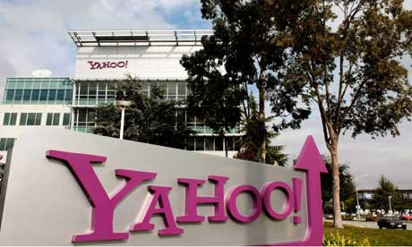 guardian.co.uk - Yahoo logo on a sign outside its Sunnyvale Campus in