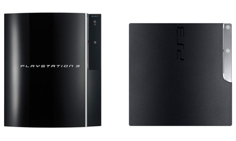 Sony's original PS3 design (left) and the new PS3 Slim (right)
