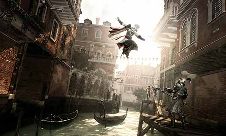 Assassin's Creed Ezio flying through the air.