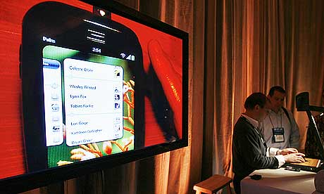 The Palm Pre smartphone is demonstrated at the annual CES in Las Vegas