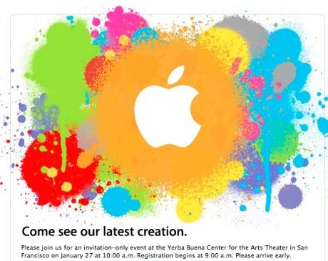 Apple invite for 27 January 2010