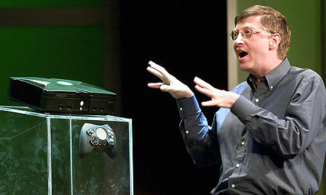 Xbox Bill Gates Microsoft chairman Bill Gates unveils the Xbox console ...