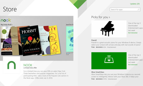 Windows 8.1 Store homepage