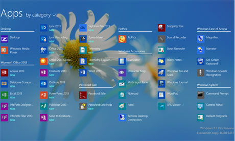 Microsoft 8.1 all apps desktop