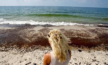 OIL WASHES UP IN GULF SHORES, ALABAMA USA
