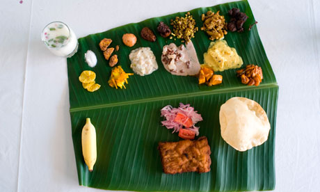 Keralan thali feast on a banana leaf.