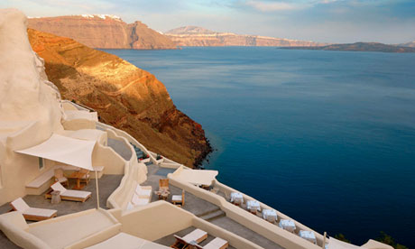 The Mystique hotel in Santorini, Greece.