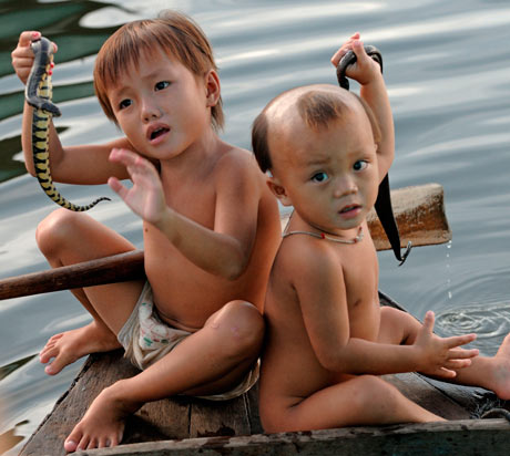 Children on Tonle Sap Lake