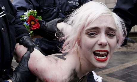 FEMEN protest against EU-Russia Summit in Brussels