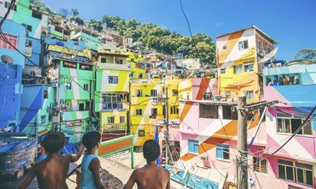 Colourful houses in Santa Marta favela