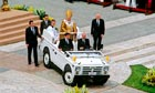 Pope Benedict in his popemobile at his inauguration