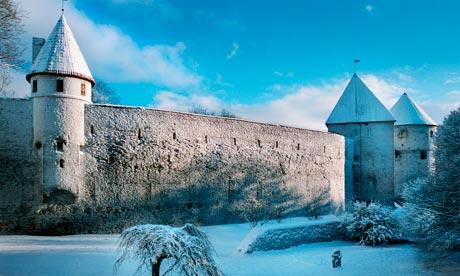 Tallinn's medieval town wall in winter