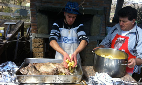 Hearty food prepared on site