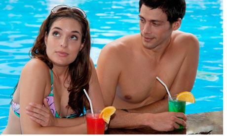couple fed up on holiday