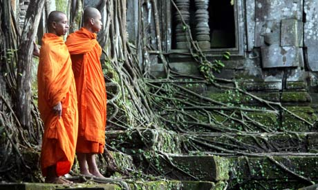 Monks at Angkor Beng, Cambodia