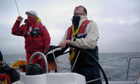Gwyn Topham at the helm, Scotland