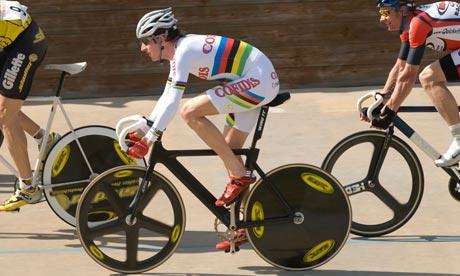 Bradley Wiggins racing at herne hill velodrome, london,uk