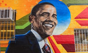 Graffiti image of Barack Obama on the side wall of Ben's Chili Bowl, Washington DC