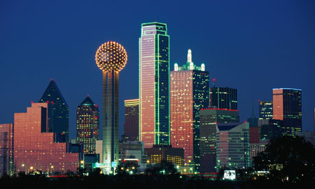Reunion Tower and the Dallas skyline at sunset. Photograph: Alamy