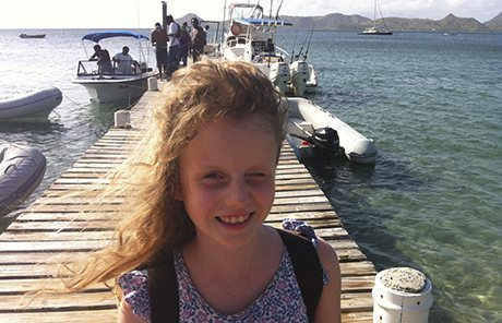 Harriet's daughter Nancy on the quay at Nevis