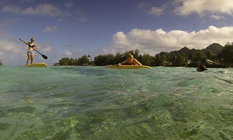 Paddleboarding in the Cook Islands.