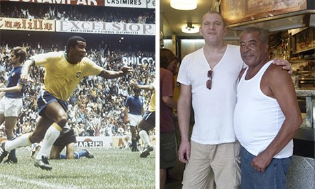 Jairzinho celebrating his historic goal in the 1970 World Cup final, and with the writer, who bumped
