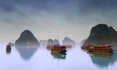 Junks on Halong Bay, Vietnam.
