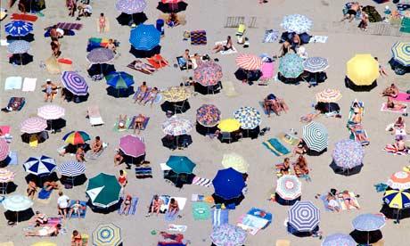 Aerial view of a beach at Benidorm, Spain.