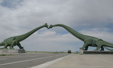 The dinosaur arch in Erenhot on the Chinese-Mogolian border.