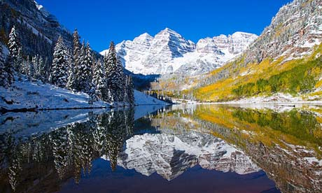 Colorado, Near Aspen, Landscape Of Maroon Lake And On Maroon Bells In
