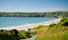 Newgale beach is big, fun and popular with surfers.