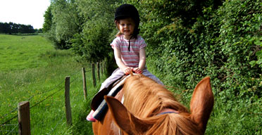 Natacha Du Pont De Bie's daughter on horseback, Normandy