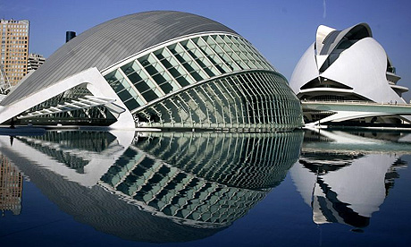 View of the Palace of Arts and Sciences and The Hemispheric in Valencia