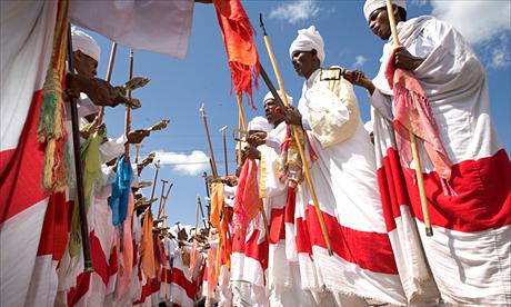 Priests at the Timkat festival, Lalibela, Ethiopia