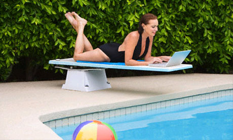 Surfing the web by the pool