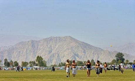 Concert goers at Coachella music festival, California